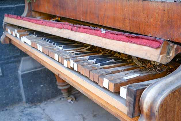 old piano with ebony keys